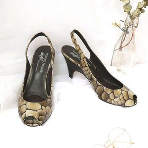 Gray green turtle shell open toes heeled sandals